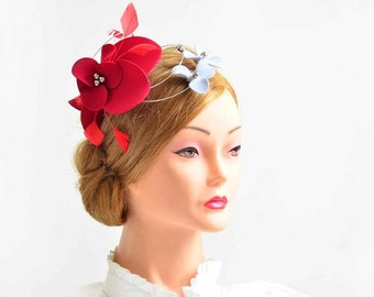 Large red and silver fascinator hat Red wedding headpiece Flower headpiece Wedding fascinator Fascinator headband