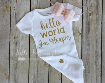 Personalized bodysuit & Headband, Gold glitter take home outfit, Coming Home outfit, Newborn Onesie, Gold newborn outfit, baby girl outfit