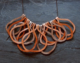 Tribal primitive necklace, Big bold statement necklace, Rustic jewelry, Hammered Artisan necklace, Fall colors, Chunky hoops, 1114