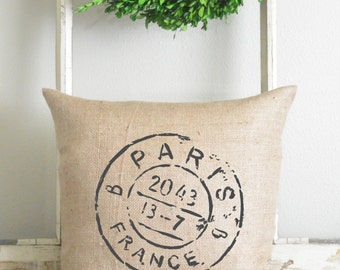 Burlap Collection_Paris Stamp 20 x 20 Pillow Cover // Home Decor // Cushion // Throw Pillow // Gift // Present