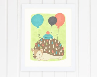 CLEARANCE Sale - Hedgie's Teatime Takeover Celebration Prints -Hedgehog with Balloons on Pale Green-  Nursery and Children's Decor