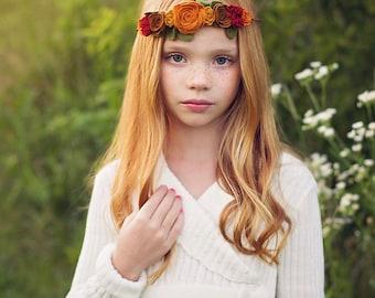 Fall felt flower crown - baby, toddler girls headband  - flower girl headband - flower garland