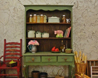 Provençal Farmhouse Green Hutch 1:12 Scale Miniature Dollhouse Furniture