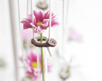 WOODEN TEST TUBE Hanging Glass Vase Rustic Wedding Favour Gifts Personalised Initials Wood Token Present for Gardeners Flowers Valentine Day