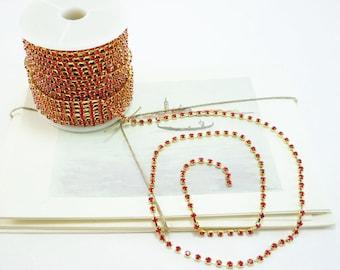 Gold Rhinestone Chain, Red Siam Crystal, (3mm / 1 Yard Qty)