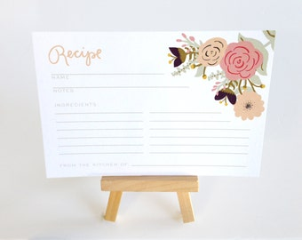 Floral Recipe Cards - Flat Printed