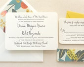 The Flora Suite - Modern Letterpress Wedding Invitation Suite, Mint, Yellow, Pink, Calligraphy, Script, Romantic, Black, Floral, Rifle Paper