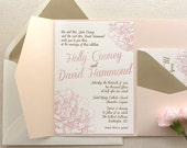 The Peony Suite - Modern Letterpress Wedding Invitation Suite, Gold, Blush Pink, flower, Calligraphy, Script, liner, Simple, Classic, pocket