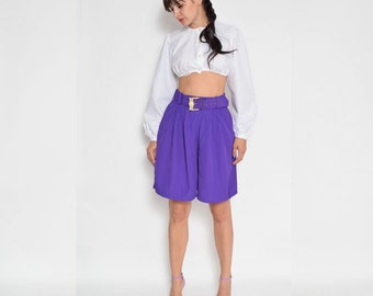 Vintage 80's Purple High Waisted Wide Leg Shorts
