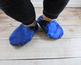 Galaxy Baby Shoes, Outer Space Baby Booties, Blue Baby Moccasins, Stellar Tula Accessories, Crib Shoes, Baby Girl Shoes, Baby Boy Shoes