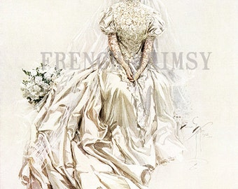 Large Harrison Fisher Image of a Beautiful Bride in Wedding Dress. Great for Printable Wall Art. Digital Download