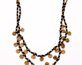 Beaded Brass Necklace with Charms