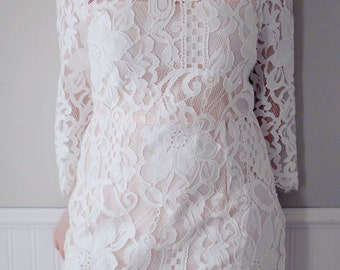 SALE-US 8/10  Ready to ship Knee length Lace Wedding Dress ,Short Wedding Dress with Sleeves-Blush wedding dresses  AM198239580