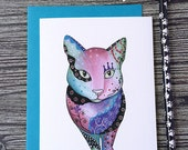 Cat Birthday Card, Funny Cat Card, Cat Mother's Day Card, Cat Mom Card, Animal Birthday Card, Crazy Cat Lady Card, Colorful Cat Card