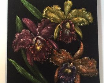 Vintage John De Ponce III Black Velvet Hawaii Hawaiian Painting Art of Trio of Orchids Flower Tiki Bar Room decor 1960s
