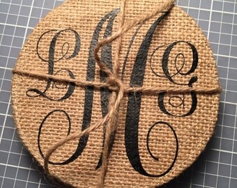 Round Burlap Custom Coasters/wedding gift/great gift