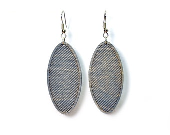 Striped Oval Earrings - Gray
