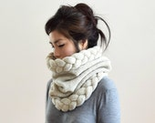 Chunky Cowl Hood, Circle Scarf, Snood Scarf, Knit Scarf Wool, Cable Knit Infinity Scarf