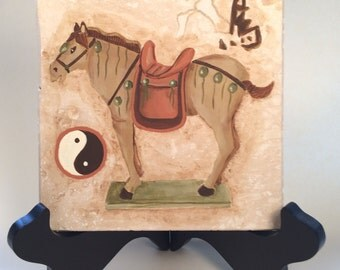 Chinese Terracotta Horse, Chinese Terracotta Army Horse on Travertine Tile; Hand Painted Ancient Horses