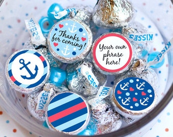 Printed for you custom baby shower hershey kiss labels Hershey kiss stickers It's a boy Anchor Birthday party favors Printed Ready to use