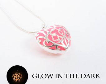 Gift for women pink heart necklace glow in the dark jewelry sister necklace valentines day gift for her glowing necklace bridal shower gift