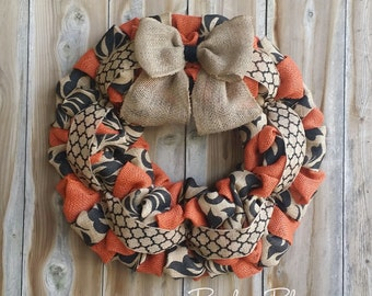 Fall Burlap Wreath, Autumn Wreath, Thanksgiving Wreath, Front Door Wreath