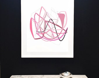 Large Original Painting on Paper-Air Drawing Series-Soft Pinks-Fuschia-Minimalist-Lines-Graphic-Airy-Modern Art-Modern Drawing-Abstract Art