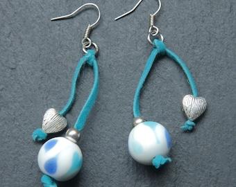 Blue marble bead earrings