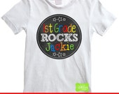 School Rocks Iron On Transfer - Personalized Chalkboard Iron On - Rainbow Iron On -  Back To School Iron On - Digital and Printed Available