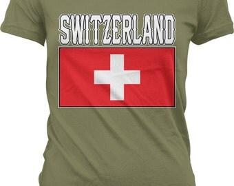 Switzerland Flag, Swiss Flag, Swiss Confederation, Swiss Pride Ladies T-shirt,Juniors and Women's Switzerland T-shirts GH_01792