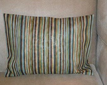 Travel Pillow Case / Accent Pillow Case STRIPPED with Browns / Tans / Aqua / Green / Gold