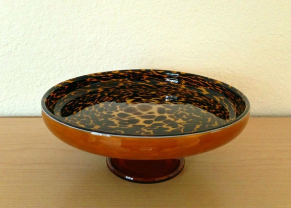 Retro Leopard Dish Dining Room Or Coffee Table Animal Print