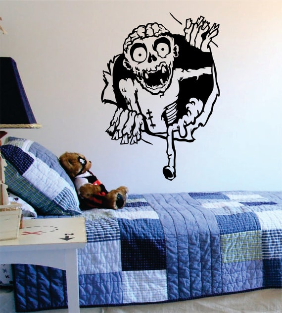 Zombie ripping through the wall decal sticker vinyl wall decor for Zombie room decor