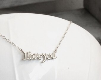I love you Necklace, Silver I Love You Charm Necklace, Rose Gold I Love You Charm Necklace, Gold I love you Necklace