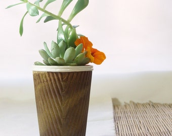 Brown ceramic plant pot, succulent planter or cactus pot. Porcelain plant holder, for pot plants in the home or garden, or as a coffee cup!
