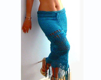 Fringe turquoise crochet skirt-Women resort skirt-Mermaid crochet skirt-Boho crochet skirt-Fringe blue maxi skirt-Handmade coverup skirt