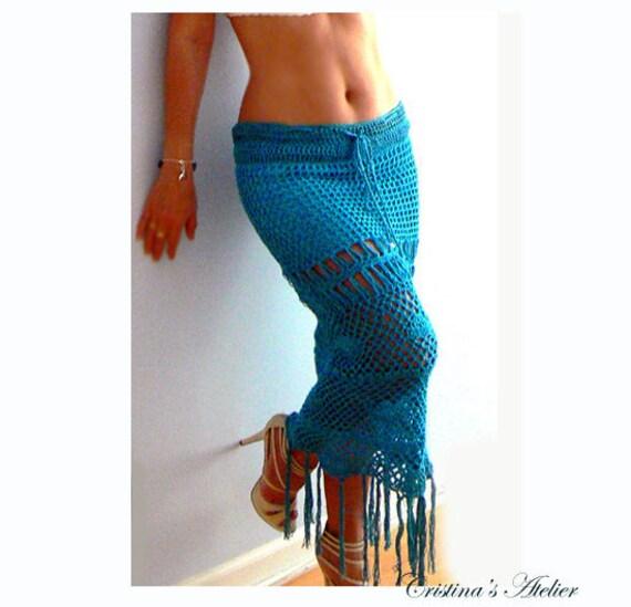 Fringe turquoise crochet skirt-Women resort skirt-Mermaid crochet skirt-Boho crochet skirt-Fringe blue maxi skirt-Handmade coverup skirt