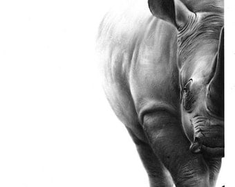 RHINO ART PRINT- rhino print, rhino wall art, black rhino decor, rhino painting, wildlife art print, wildlife decor, african animal painting
