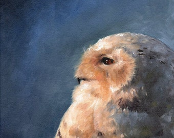 SNOWY OWL ART - owl print, owl oil painting, owl painting, owl art print, owl lover gift, owl artwork, snow owl decor, owl wall art