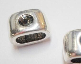 Silver and Black Diamond Swarovski Crystal Slider 10x5mm opening