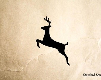 Deer Jumping Rubber Stamp - 2 x 2 inches