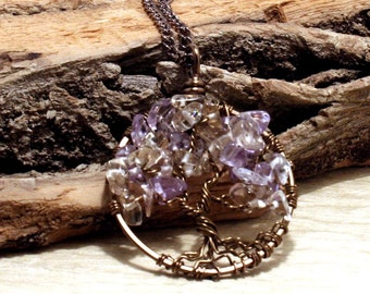Purple Plum, Ametrine, Tree Of Life, Necklace, Pendant, Brown Chain, Brown Wire Wrapped Tree, Gemstone