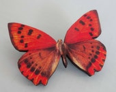 Butterfly brooch red wooden moth nature Art Nouveau Woodland butterfly jewellery