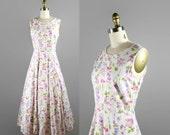 1980s Floral Sundress / 80s Vintage Botanical Floral Summer Dress size Medium / Maxi Dress