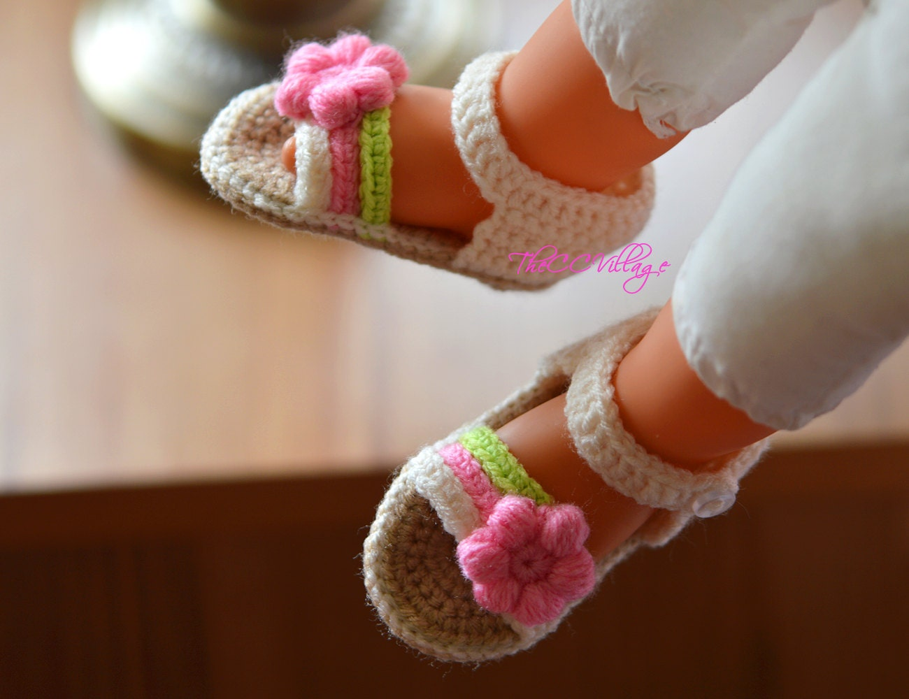 Cream Crochet Baby Sandals Handmade Crocheted Girl Shoes With