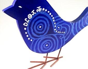 Perched Bluebird of Happiness Tsalagi Cherokee Made
