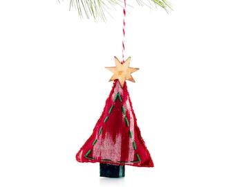Hand Stitched Christmas Ornament- Red Tsalagi Cherokee Made