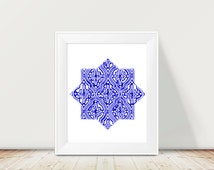 Moroccan  star wall art, blue boho wall decor, eclectic printable art, 8X10,instant download JPEG pdf, nursery art,  hand drawing