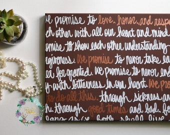 Wedding Vows Wall Art Painting Bronze Anniversary Gift Canvas Painting with Wedding Vows on Canvas Song Lyrics Wedding Gift Brown White Art