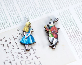 Wooden pendant, Alice in Wonderland, Laser cut, Necklace